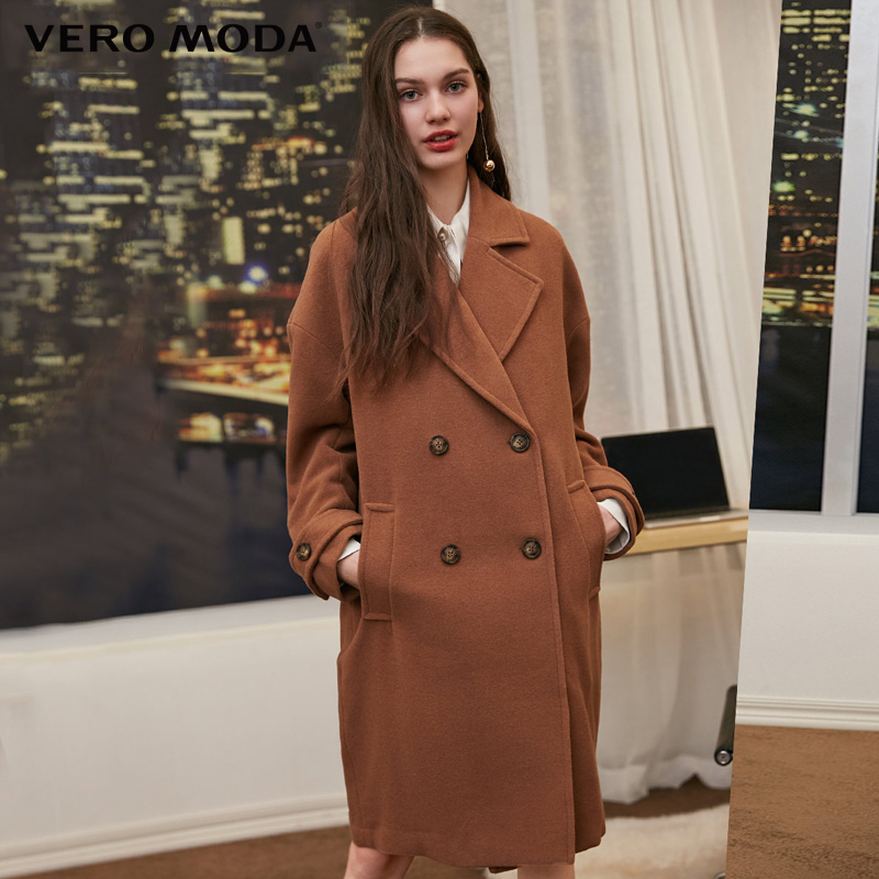 Vero Moda 2019 Autumn Winter Lapel Collar Double-breasted Wool Coat | 318327564
