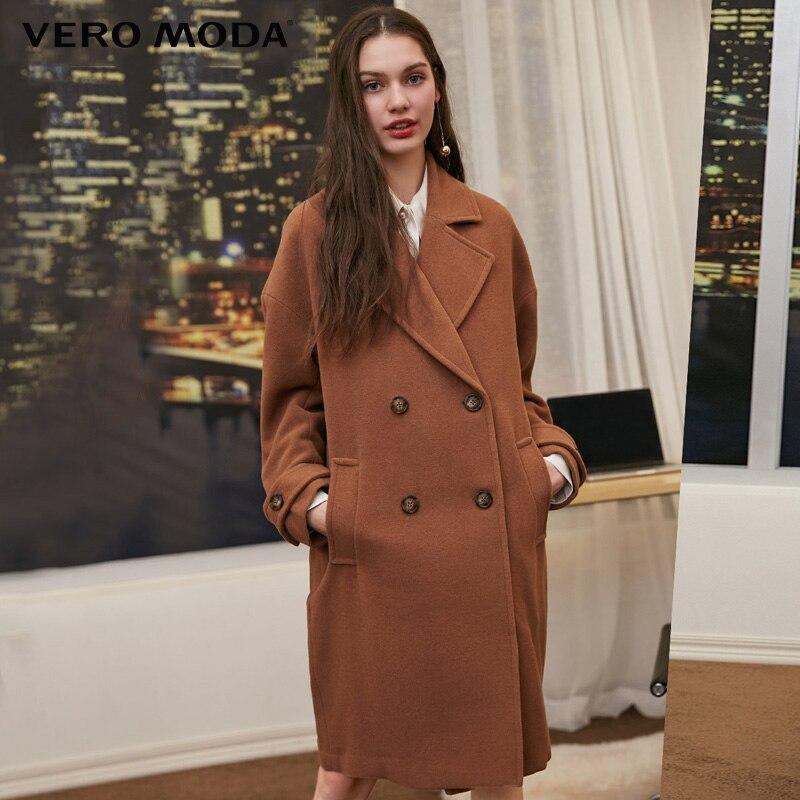 Vero moda 2019 outono inverno lapela gola casaco de lã de dois seios | 318327564