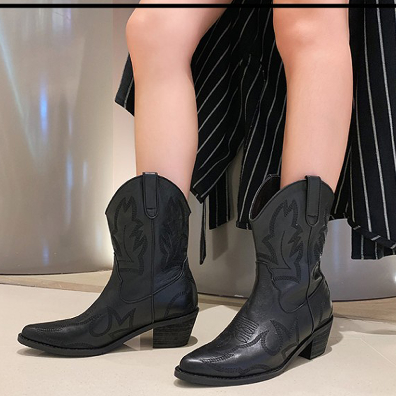 2019 Genuine Leather Western Cowgirl Boots Pointed Toe Winter Warm Cowboy Boots Shoes Women Ankle Boots Botas Mujer