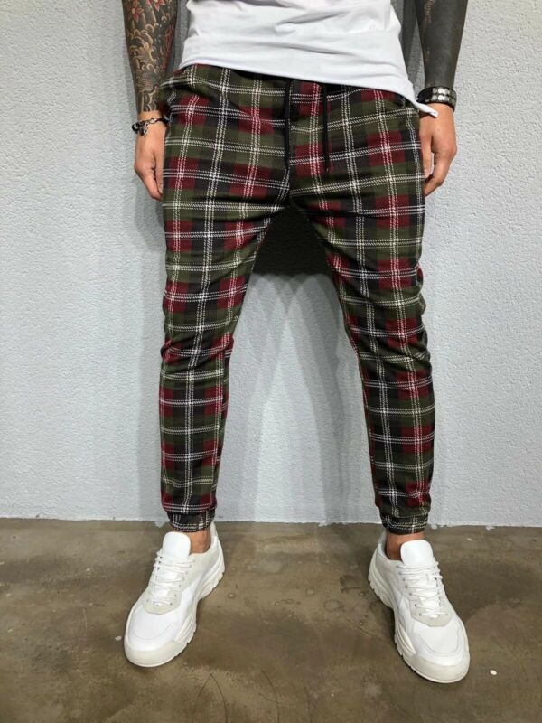 New Mens Tartan Pants Slim Fit Long Trousers Check Casual Fashion Pants Joggers Jogging Skinny Bottoms