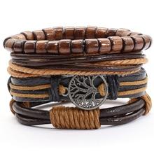 Handmade Tree New Punk 4 pcs/set Vintage Multilayer Wood Beads Rudder Charm Leather Bracelets Men Bracelets Women Homme Jewelry