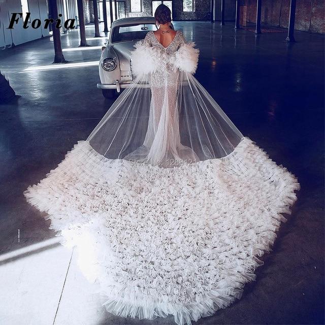 Beaded Wedding Dresses With Long Train 3