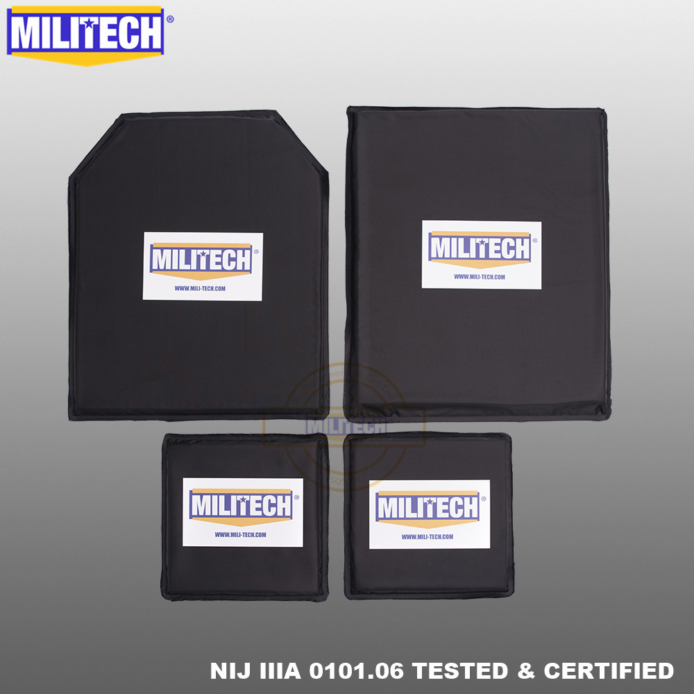 MILITECH 10 X 12 STC&SC And 6x6 Inches Pairs Aramid Ballistic Panel Bullet Proof Plate Inserts Body Armor Soft NIJ Level IIIA 3A