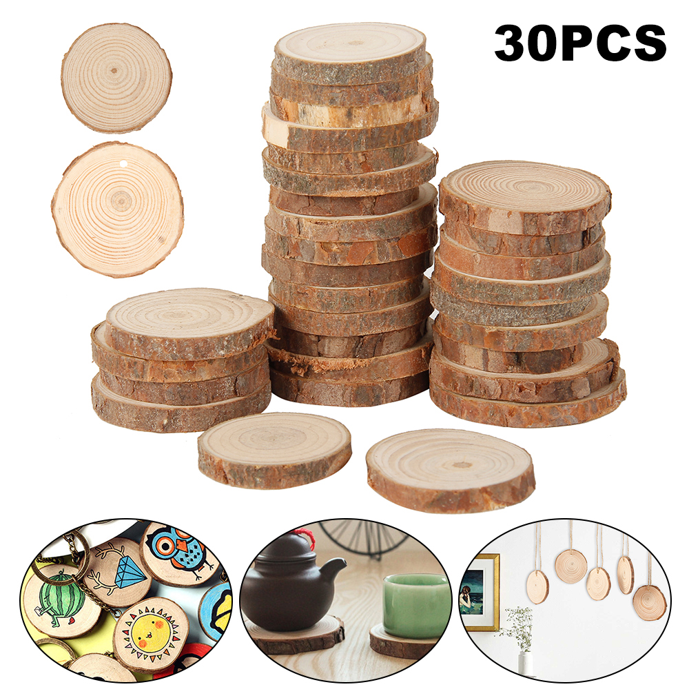 30 Pcs 3-4 cm Natural Pine Round Unfinished Wood Slices Circles With Tree Bark Log Discs DIY Crafts Wedding Party Decoration