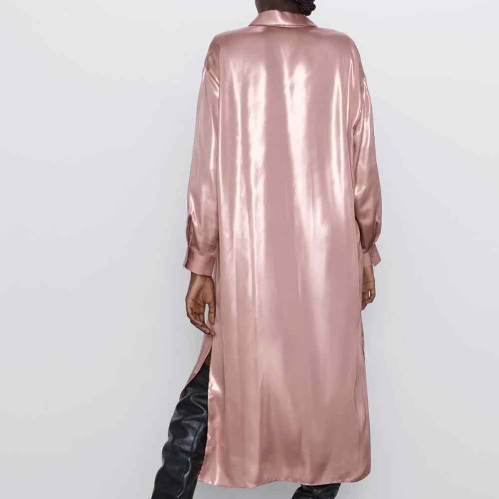 ZA frauen kleid 2019 winter herbst metall farbe reflektierende elegante chic dame lange kleider Hemd stil kleid