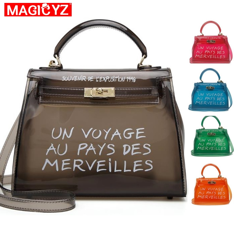 Clear Transparent PVC Shoulder Bags Women Candy Color Women Jelly Bags Purse Solid Color Handbags Sac A Main Femme Crossbody Bag