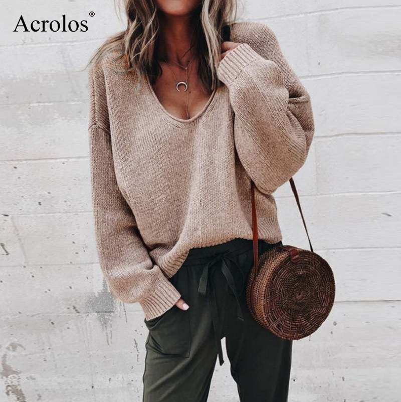 Sexy V-neck Knitted Sweaters Women Fashion Long Sleeve Casual Knitted Tops Autumn Winter Sweaters 2020 Fashion Pullover Femme