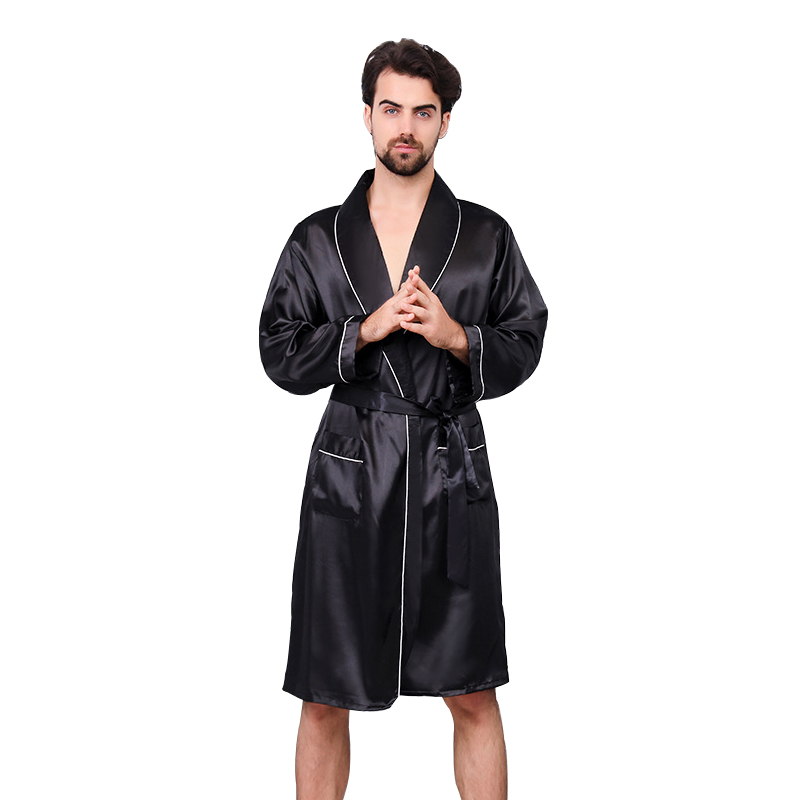 Luxury Designer Men's Silk Kimono Robe Plus 5XL Long Sleeve Sleepwear Bathrobe Oversized Satin Nightgown Summer Home Clothing