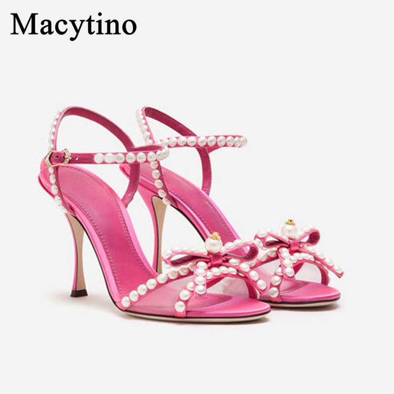Pink Sandals Bowtie Shoes Women's Summer Stiletto High Heels Ladies Plus Size Wedding Shoes