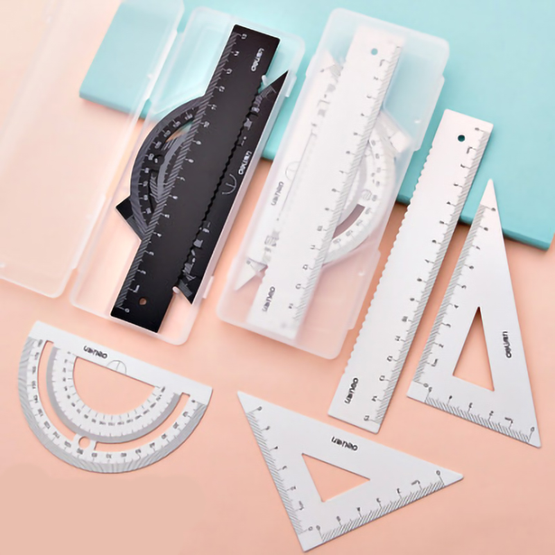 4Pcs Set Square Portable School Math Geometry Set Protractor Drawing RulerGeometry Set Protractor Drawing Ruler Math