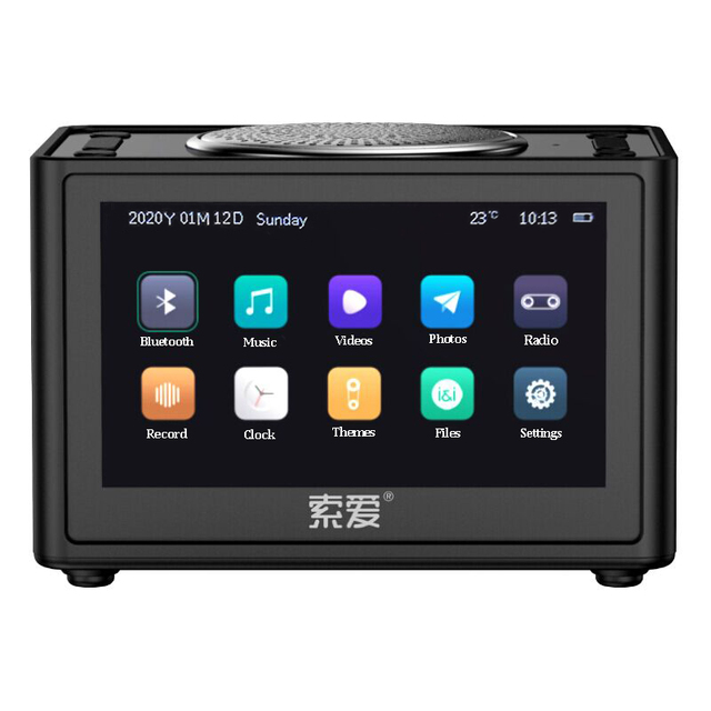Soaiy Bluetooth Speaker Wireless Video Mini Subwoofer Home HD Radio Portable Car Computer Speakers Support Alarm Clock TF USB