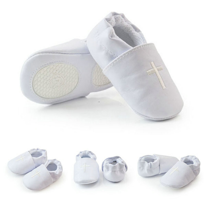 Baby Boy Girl First Walkers Church Soft Sole Leather Shoes Cross Baptism Christening Shoes Sx1