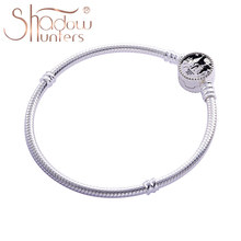 SHADOWHUNTERS Real 925 Sterling Silver Castle Snake Chain Br