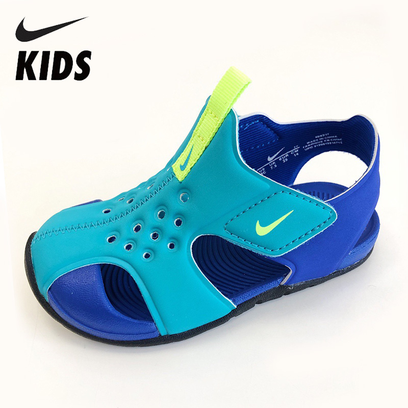 NIKE Original Kids Sandals Summer Breathable Beach Shoes  Hook&loop Anti-slip Childen School Shoes Soft Children Summer Slids