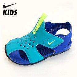 NIKE Original Kinder Sandalen Sommer Atmungs Strand Schuhe Haken & schleife Anti-slip Childen Schule Schuhe Weiche Kinder Sommer slids