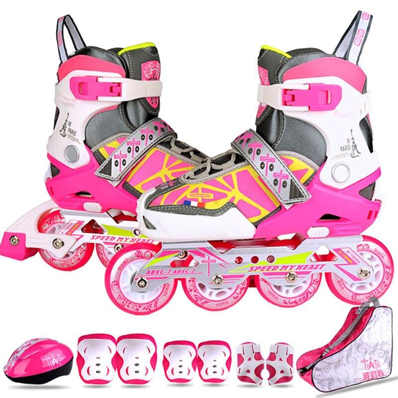 Children Inline Skate Roller Skating Shoes Set Helmet Knee Protector Gear Adjustable Washable Hard Teenagers Patins