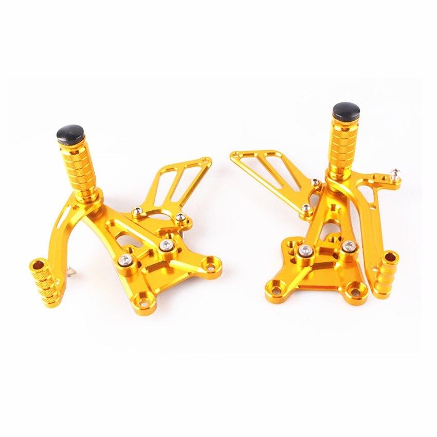 CNC Adjustable Rearset Footrest Pegs Pedals For Honda CBR600F4i 2001 2002 2003 2004 Gold
