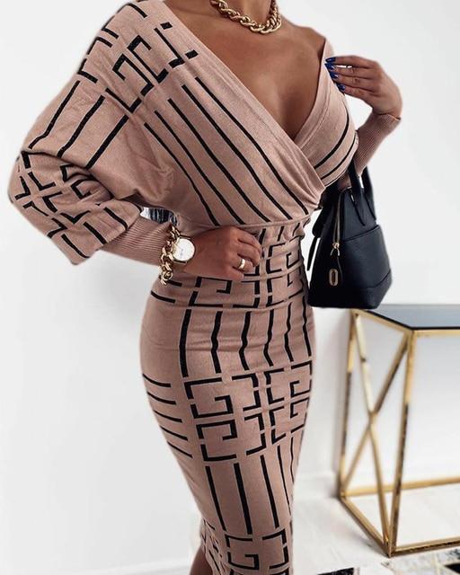 2020 Women Fashion Elegant Casual New Autumn Officewear Printing Long Sleeve Wrap Midi Dress 3