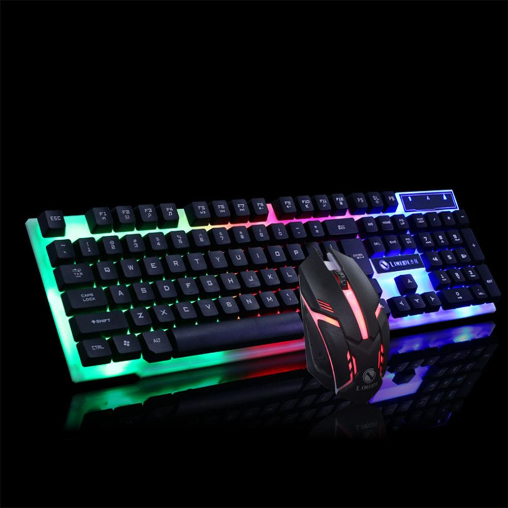 PC Gamer Gaming keyboard Mechanical Wired Keyboard Mouse Set Photoelectric Backlit Keyboard Set Silent Gaming Mouse Set For PC image