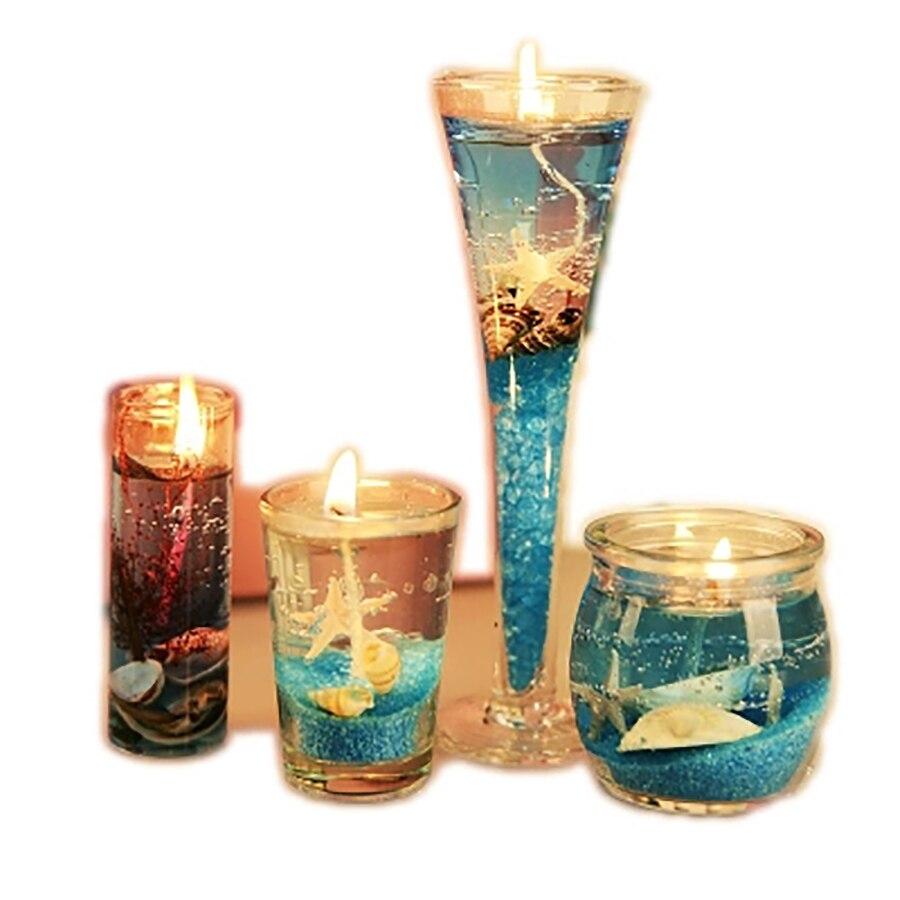 4 pièces romantique océan gelée créative faux bougies cire bois mèche anniversaire licorne bougies aromathérapie décoratif bougies ALZ154