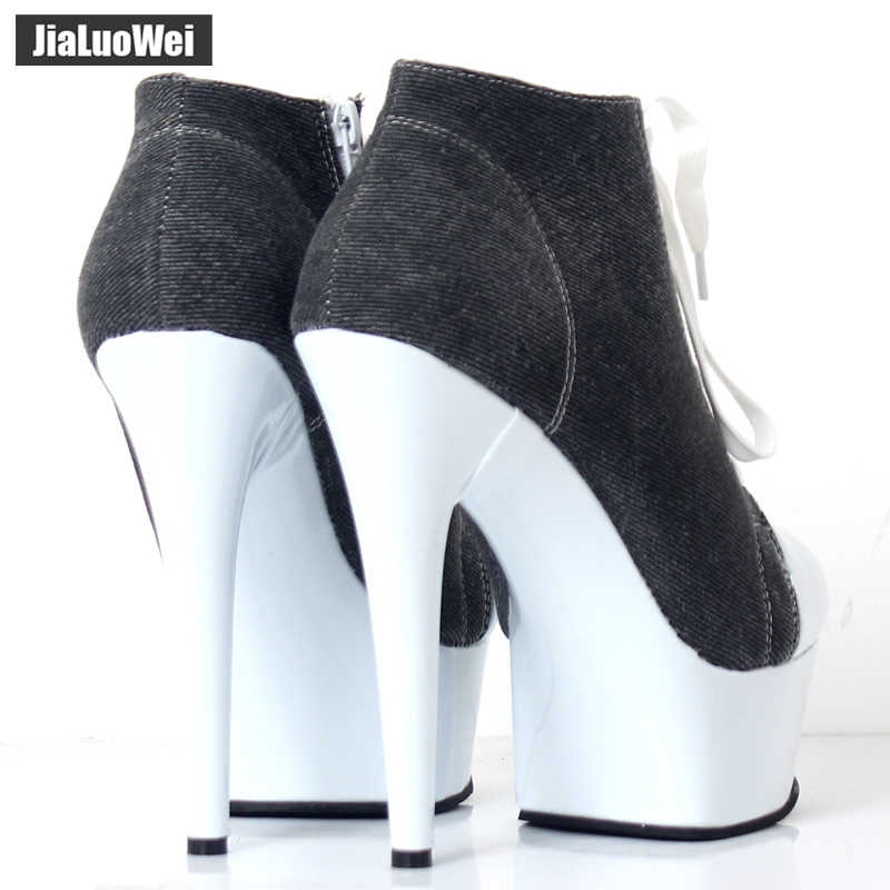 Denim Ankle Boots Thin Heel Platform Lace-up Pointed Toe Zip Sexy Fashion Ladies Footwear 15CM High Heels