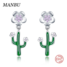 MANBU New arrival CZ Cactus flowers enamel stud earrings 925 sterling silver fashion jewelry for women anniversary gift