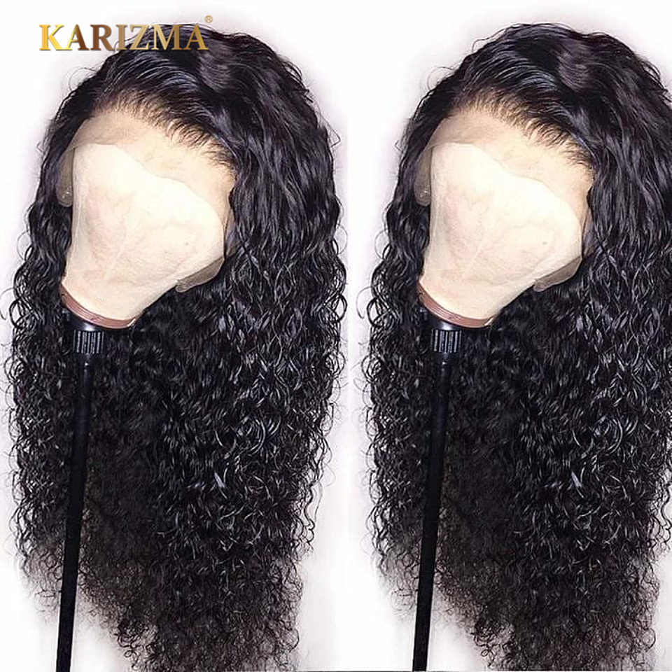 Wigs Human-Hair Glueless Full-Lace Brazilian Curly Wave with Pre-Plucked Kinky