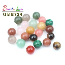 Natural Stone Without Holes Ball Bead 8 10 12mm No hole charms Round Beads For Jewelry Making Diy Bracelet Necklace 10pcs 20pcs