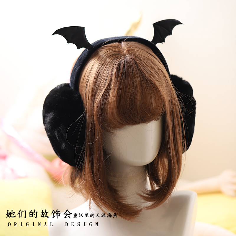 Princess Sweet Lolita Earmuff Autumn And Winter Outer Fluffy Bat Wing Earmuff Gothic Wind Warm And Foldable Earmuff GSH272