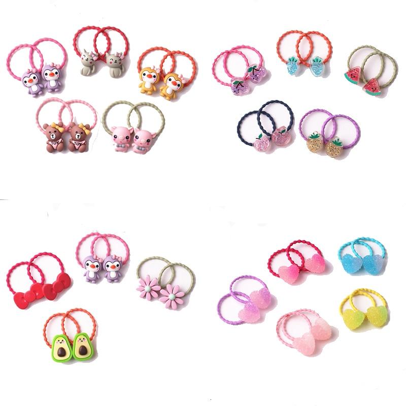 10PCS New Princess Cartoon Animal Fruit Kids Elastic Hair Bands Baby Headdress Children Hair Ropes Girls Hair Accessories