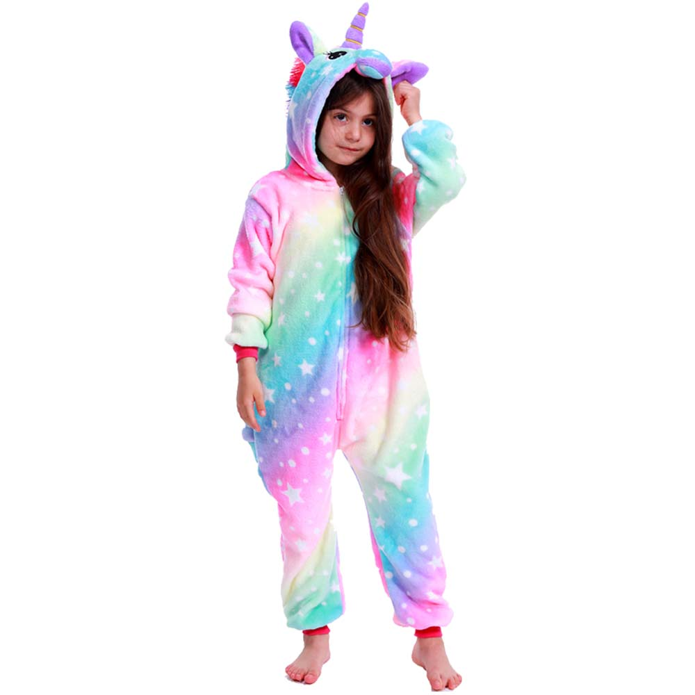 2021 Children Onesie Kids Unicorn Panda Pajamas Animal Cartoon Blanket Sleepers Baby Costume Winter Boys Girls Licorne Jumspuit 5