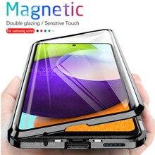 360 ° מגנטי Flip Case לסמסונג גלקסי A52 A 52 52A סמסון A52 samsunga52 4G 5G כפול צדדי זכוכית מתכת פגוש טלפון כיסוי
