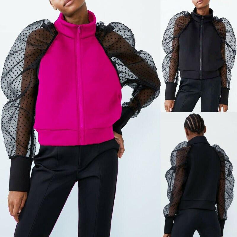 2020 Fashion Women's Zipper Coat Polka Dot Lace Sleeve Sheer Mesh Long Puff Sleeve Tops Sexy Women Zipper Coat Outwear Jacket