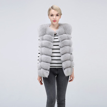Natural Real Fox Fur Vest Jacket Waistcoat Short sleeveless Vestwoman winter warm Natural Fur Vest Real Fur Jacket Fox Fur Coats недорого