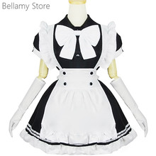 Limited day super cute black and white butterfly theme uniform Maid Dress