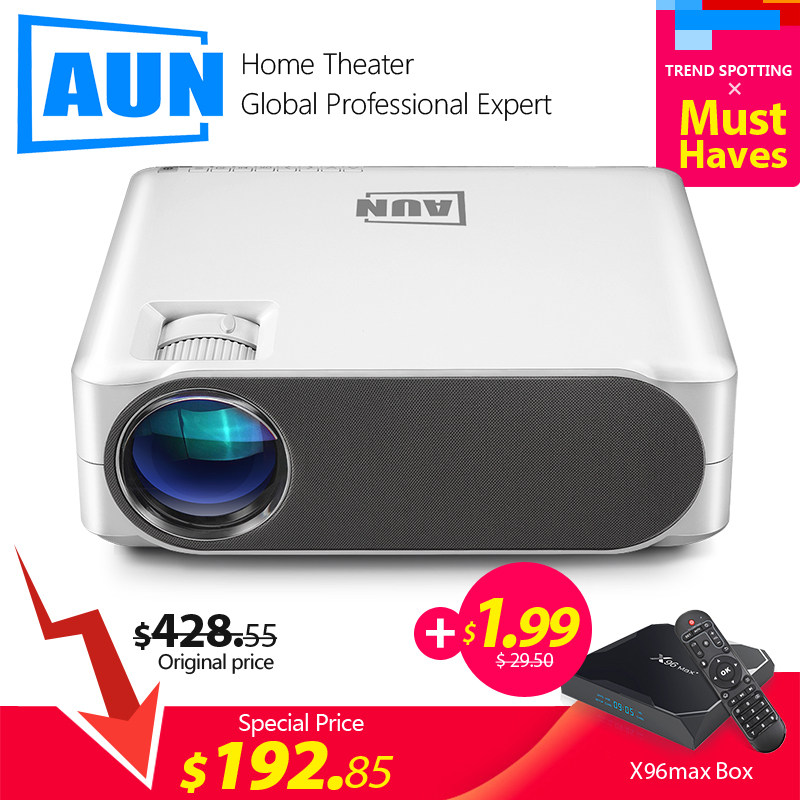 AUN Full HD Projector AKEY6S X96Max  1 99  1920x1080P  6 800 Lumens Android 6 0 WIFI Beamer  LED Projector for 4K 3D Home Cinema