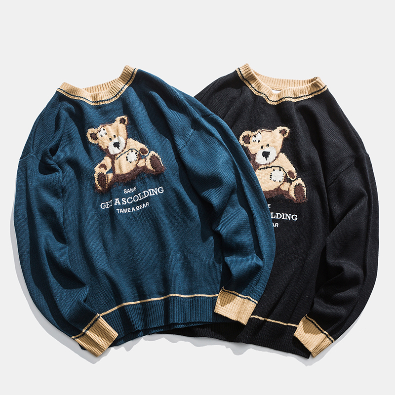 Teddy Bear Pattern Knitted Sweater Lover Winter Vintage Casual Cute Bear Sweaters Women Harajuku Oversize Teddy Bear Sweaters