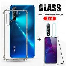 360 ° 3-In-1 Screen Gehard Glas + Hd Camera Lens + Airbag Case Op Voor Huawei nova 5 T Nova5 T Nova5T 5 T Anti-Val Telefoon Covers