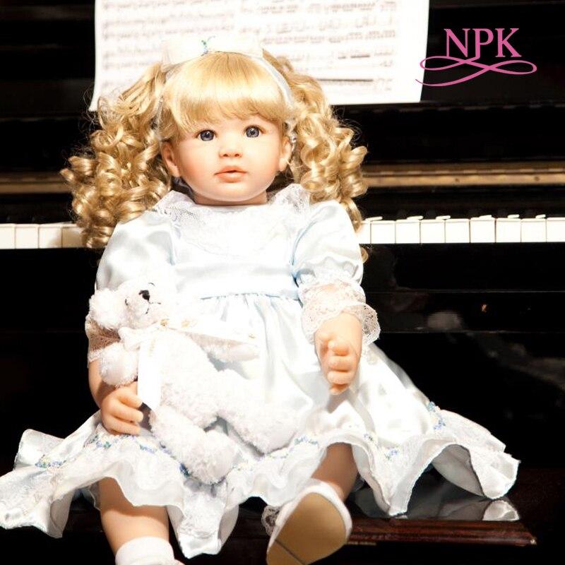 NPK 60CM mädchen puppe Weiche Silikon tuch körper Lebensechte Bebe puppe Reborn Boneca Reborn kleinkind baby hand gemacht geschenk