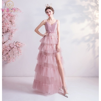Prom Dresses Long 2020 Pink Tulle Formal V Neck Spaghetti Strap Tiered Bow Front Split Lace Up Back Formal Evening Gowns Stock pink v neck bowknot front lace slip pajamas