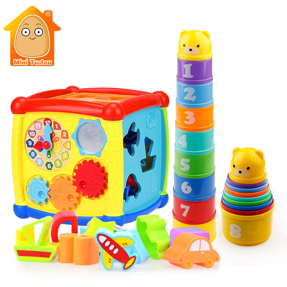 Educational Multifunctional Musical Instruments Toys Toddler Baby Piano Activity Cube Geometric Blocks Sorting Cups Kids Toys