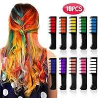 10 in 1 Farbe Haar Chalk Set Temporäre Waschbar Haar Farbe Farbstoff Helle Haar Kreide Kämme