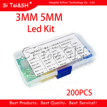 200PC 3MM 5MM each 20pcs Led Kit Mixed Color Red Green Yellow Blue White Light Emitting Diode Assortment with free Box