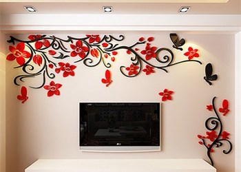 DIY Removable Vinyl Flower Wall Sticker Modern Decals For Wall Decor TV Background Decoration Mural Wallpaper For Living Room 21