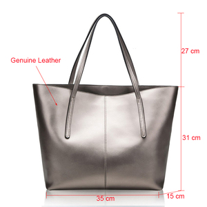 Image 2 - Silver Cow Genuine Leather Women Bags 2020 Big Handbag Fashion Top handle Hand Bag Ladies Tote Large Luxury Female Shoulder Bag