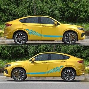 Image 4 - Voiture deux bandes latérales autocollants autocollants Auto vinyle graphiques drapeau à carreaux pour Automobiles camion SUV haute qualité voiture autocollants