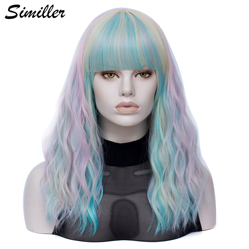 Similler Women Long Synthetic Wig Curly Hair Heat Resistance Fiber Multicolor Rainbow Wigs With Blunt Bangs
