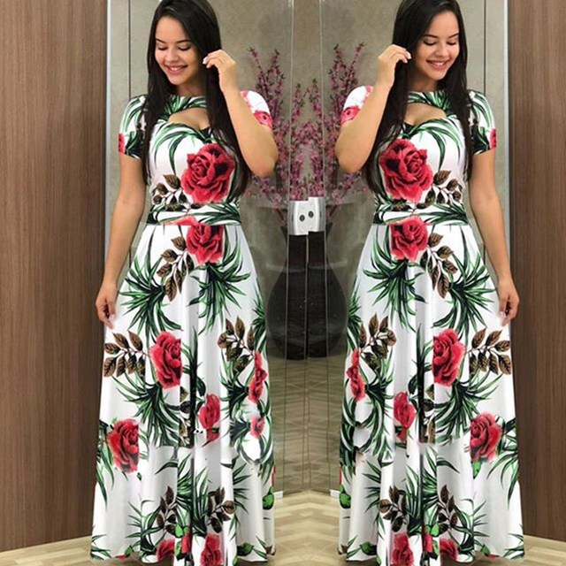 Elegant Spring Autumn Women Dress Casual Bohmia Flower Print Maxi Dresses Fashion Hollow Out Tunic Vestidos Dress Plus Size 2