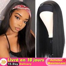 Длинный прямой/яки парик с головной повязкой синтетический термостойкий парик Для женщин парик с головной повязкой, черные/коричневые воло...