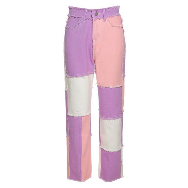 Spring Long Pants Color Jeans Women Wide Leg Pants Casual High Waist Patch Stitching Streetwear Botton Plus Size Women Pants 5